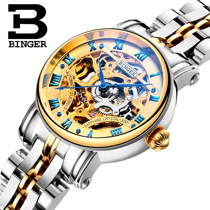 Switzerland luxury Women s watches BINGER brand Hollow Out Mechanical Wristwatches sapphire full stainless steel clock