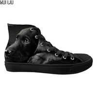 Customized Fashion Labrador Printing Male Sneakers Classic High Top Men Vulcanized Shoes Man Comfortable Breathable Boy Shoes