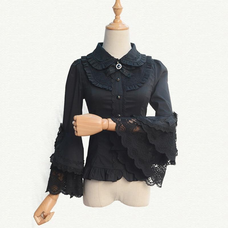 2019 Victorian Lolita Weiß / Schwarz Bluse Damen Lace Long Flare - Damenbekleidung - Foto 6