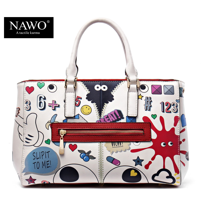 NAWO Leather Bags Women  High Quality Luxury Handbags Women Bag Designer Cartoon Printing Character Women Shoulder Bags Tote