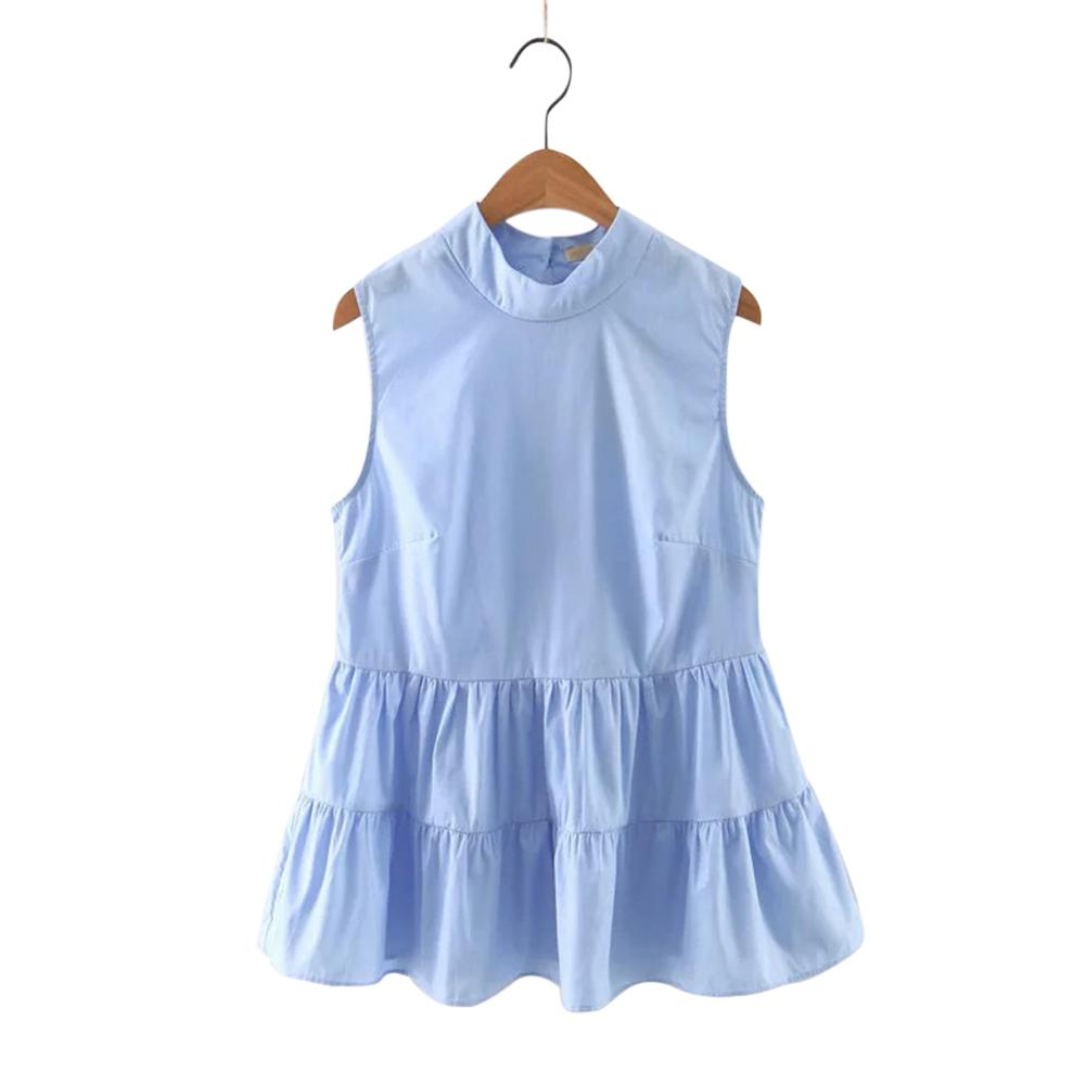 2019 New Yfashion Women Solid Color Sleeveless Stand Collar Tops in T Shirts from Women 39 s Clothing