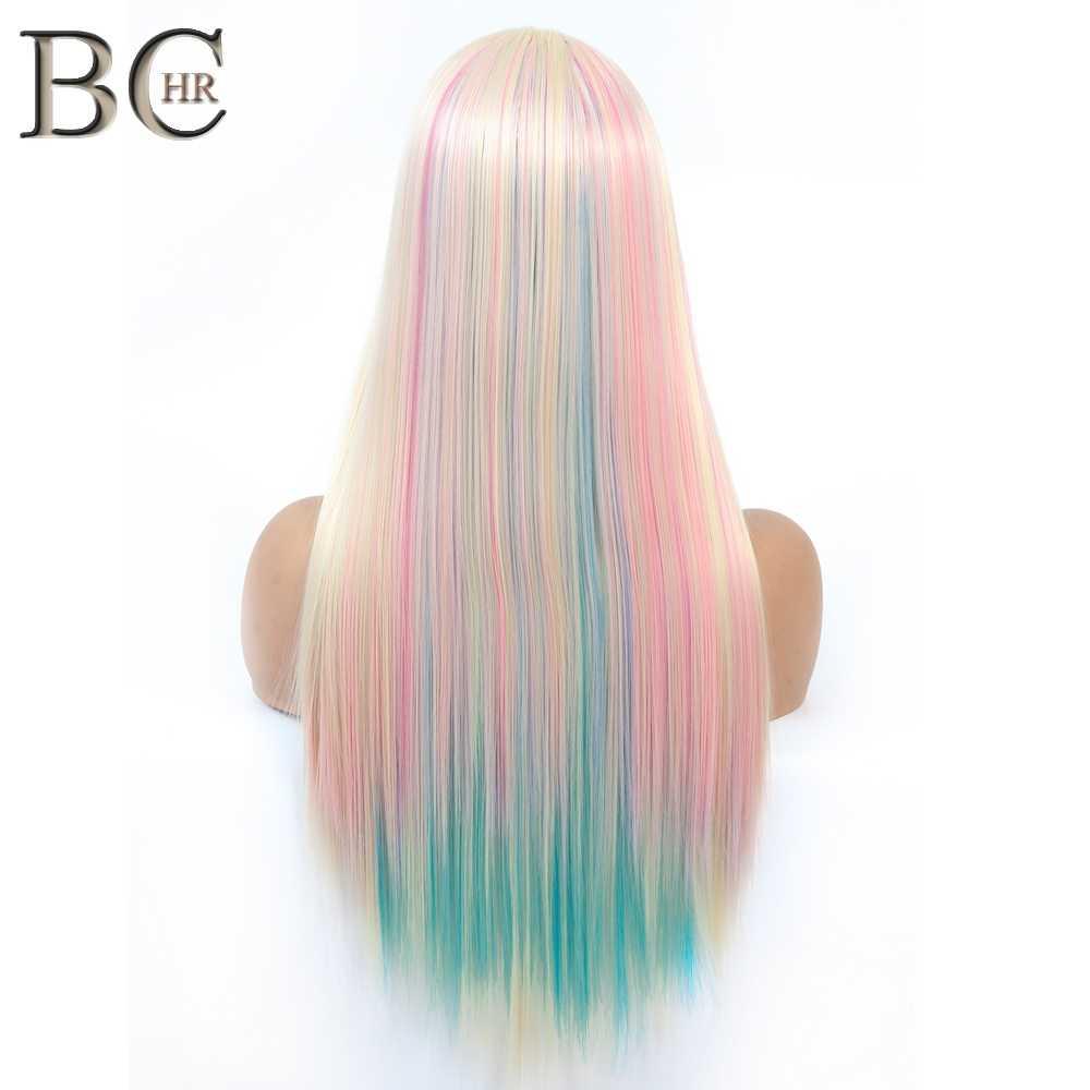 BCHR peluca larga recta 13*4 peluca con malla frontal pelo sintético Hada princesa peluca colorida Arco Iris Cosplay Ombre para mujeres