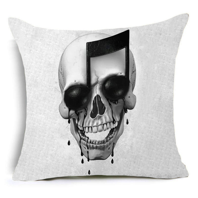 DecorUhome Hot Selling Music Skull Cushion Covers Polyester Sequin pillow Cover for Sofa Bed Nordic Decorative Pillow Case