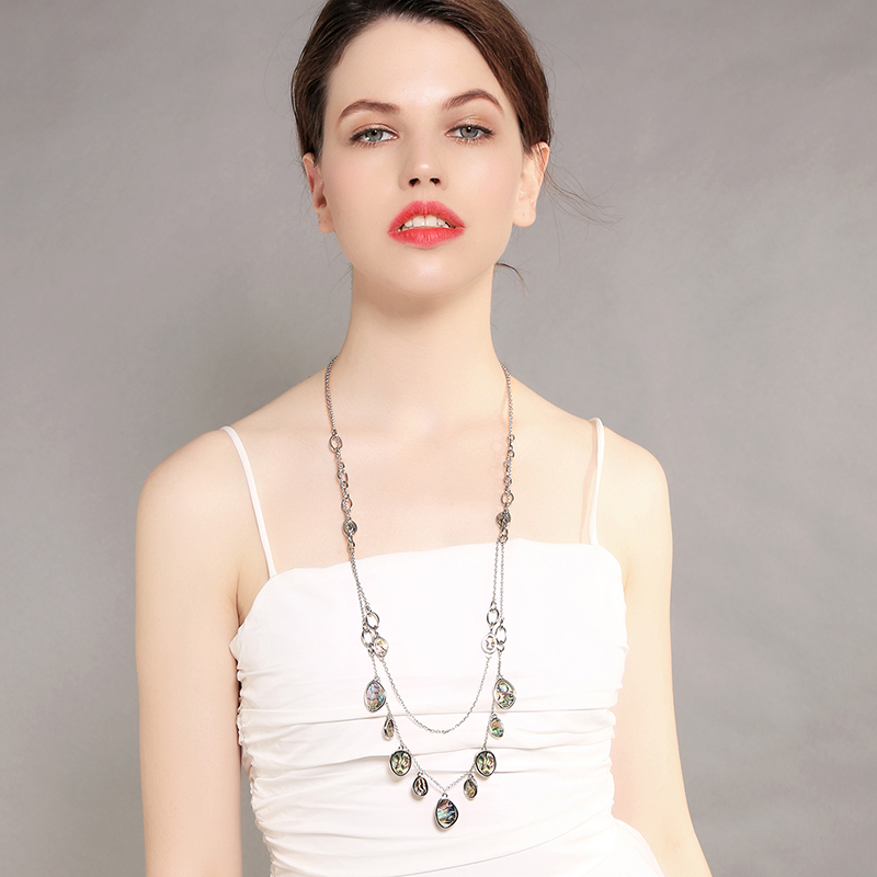 xl01711c Antique Brown Color Shell Resin Pendant Double Chain Necklace 2018 New Wholesale Jewelry For Women Summer Holiday