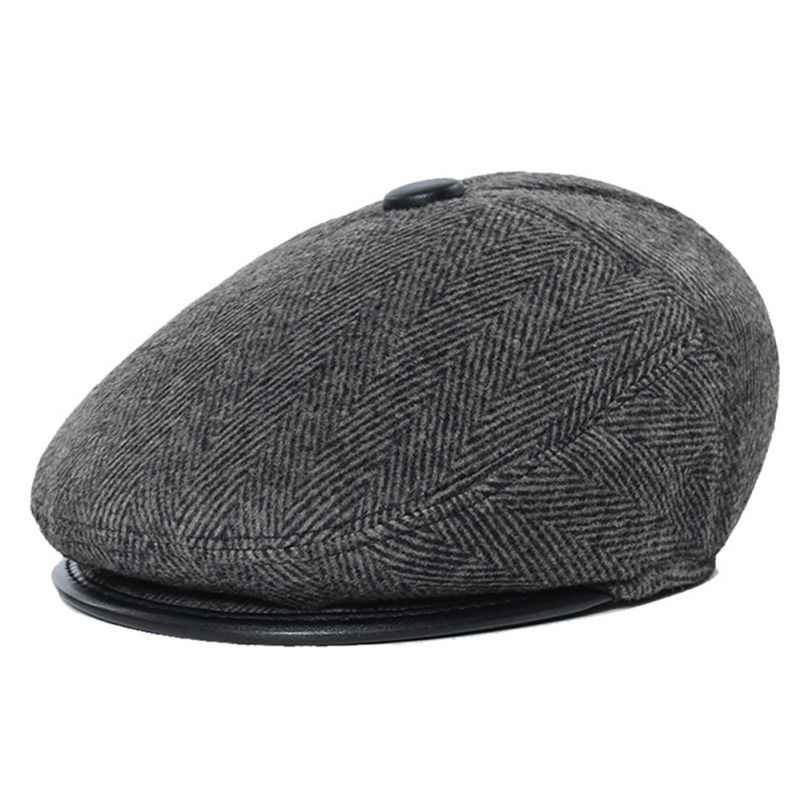 02e41d97618e1 Gentleman s Woolen Newsboy Cap Autumn Winter Thick Warm Ear Caring Worsted  Papa s Long Hunting Caps Retro