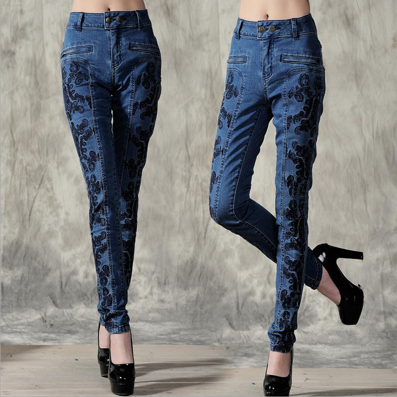ФОТО Factory direct sale embroidered ethnic style pants 2016 autumn new nice pocket denim trousers Slim was thin female jeans w1256