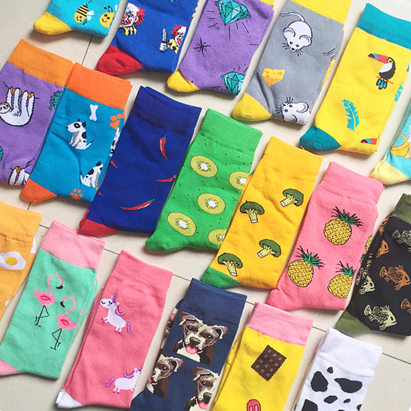 Men and women couples fashion   socks   fun Christmas fruit and vegetable   socks   horse cat dog Harajuku oil painting shark   socks