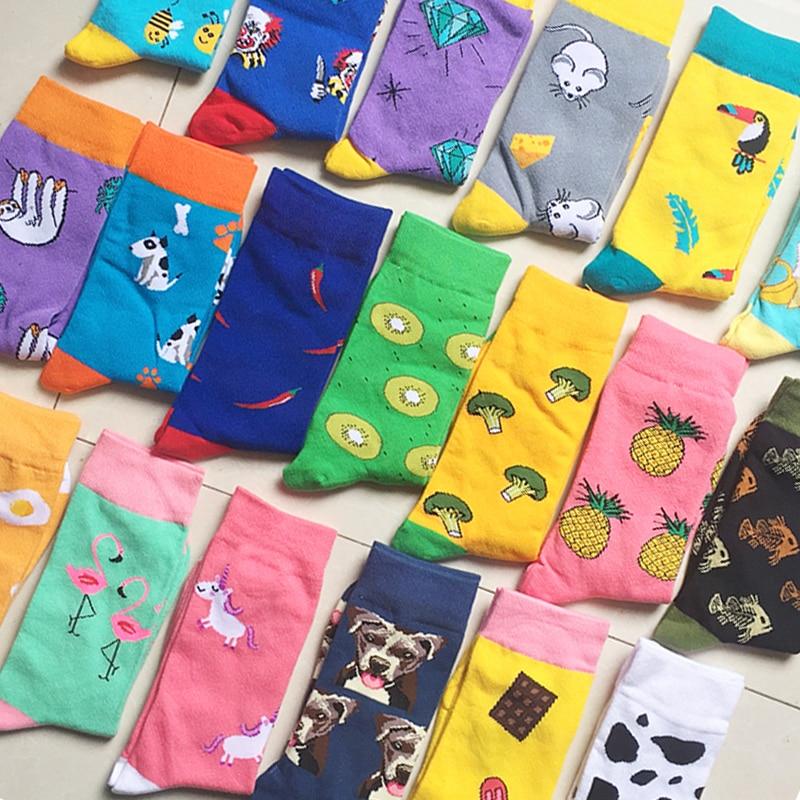 Men And Women Couples Fashion Socks Fun Christmas Fruit And Vegetable Socks Horse Cat Dog Harajuku Oil Painting Shark Socks