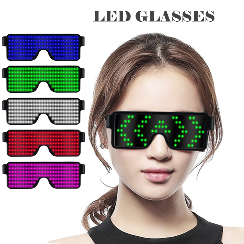 New 8 Modes Quick Flash Led Party Glasses USB charge Luminous Glasses Christmas Concert light Toys Night light Favor Gifts