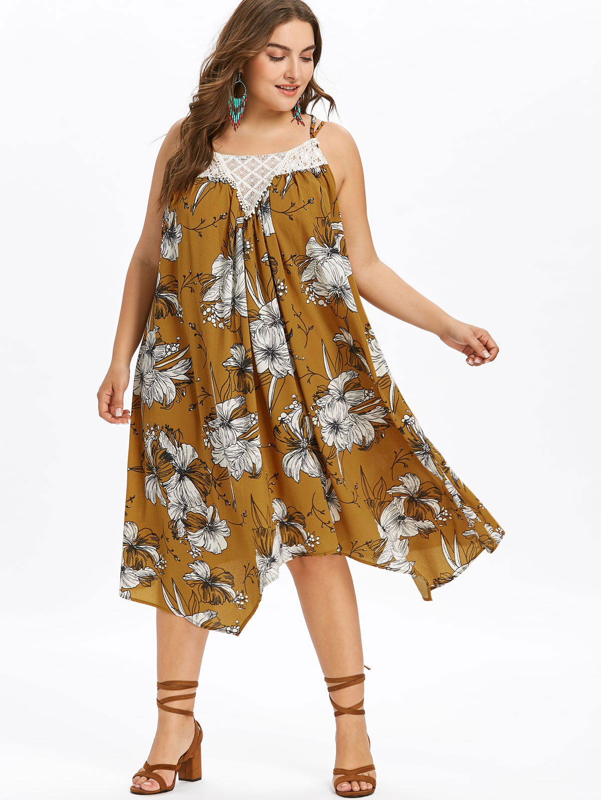 Gamiss Plus Size 5XL Floral Trapeze Lace Trim Dress Women Summer Spaghetti Strap Print Bohemia Casual Beach Sundress Vestidos