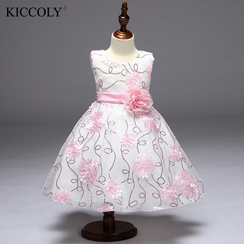 цена  Pink Flower Girl Sequins Dress Pageant Wedding Bridal Dress Children Bridesmaid Toddler Elegant Communion Dress 2017 New  онлайн в 2017 году