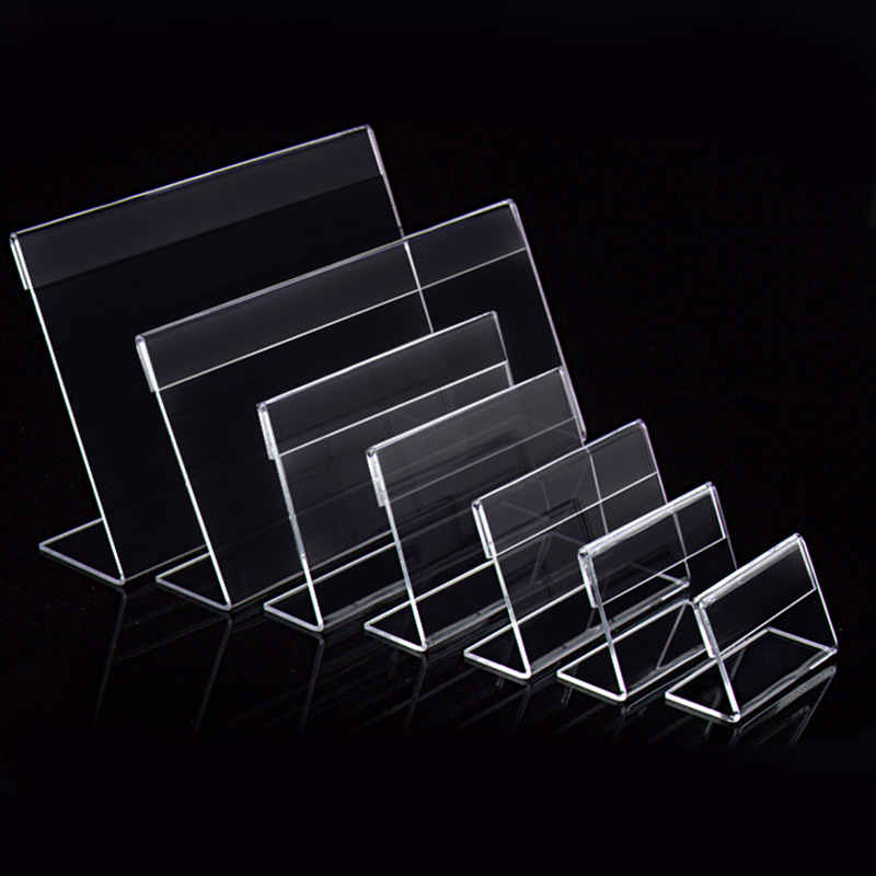 20pcs Acrylic T1.3mm Clear Plastic Table Sign Price Tag Label Display Paper Promotion Card Holders Small L Shape Stands 10 pcs pop store shop point of sign display promotion price tag sign label clip card holder snap clamp shelf price talker