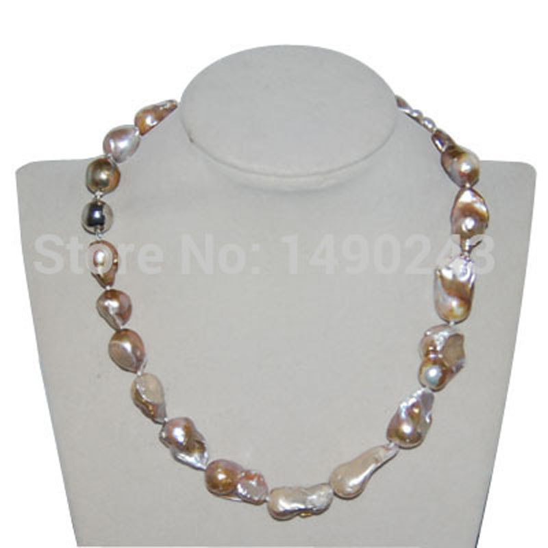 17 inches 15-22mm Natural Lavender Baroque Pearl Necklace with Magnetic Clasp
