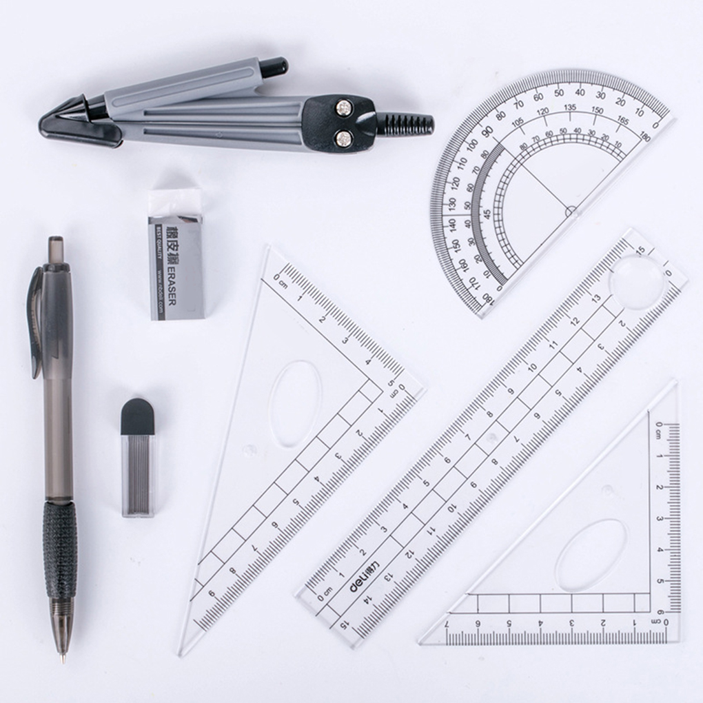 8PCS/Set Drawing Compass Ruler Kit Students School Stationery Examination Math Learning Tools Gifts