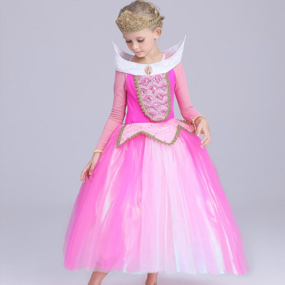 Kid Dornröschen Aurora cosplay kostüm sommer prinzessin Aurora kleider für mädchen Halloween Kostüm tulle lange kleid