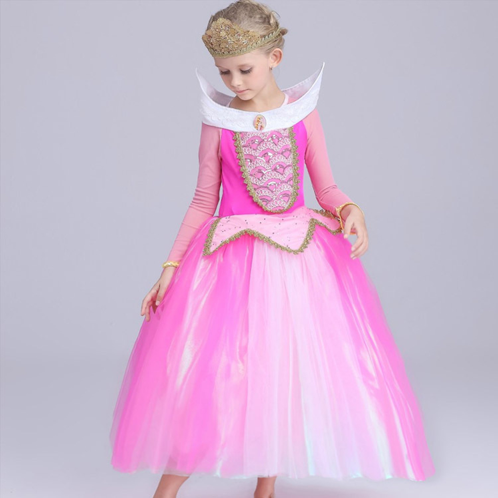 Kid Dornröschen Aurora cosplay kostüm sommer prinzessin Aurora kleider für mädchen Halloween Kostüm tüll lange party kleid