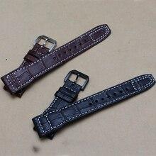 Новое поступление ремешок для часов ремни 22 мм ( пряжка 18 мм ) мужские часы группа кожи для часов черный с белыми нитками линия