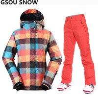 Gsou Neve terno de esqui das mulheres À Prova D' Água 10 K grosso quente jaqueta de esqui snowboard calça + jaqueta de esqui das mulheres ao ar livre esporte ternos de esqui de neve