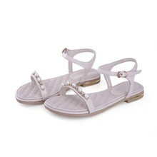 New simple Pearl leather sandals buckle flat slippers summer flat shoes fashion open-toed sandals and slippers soft bottom