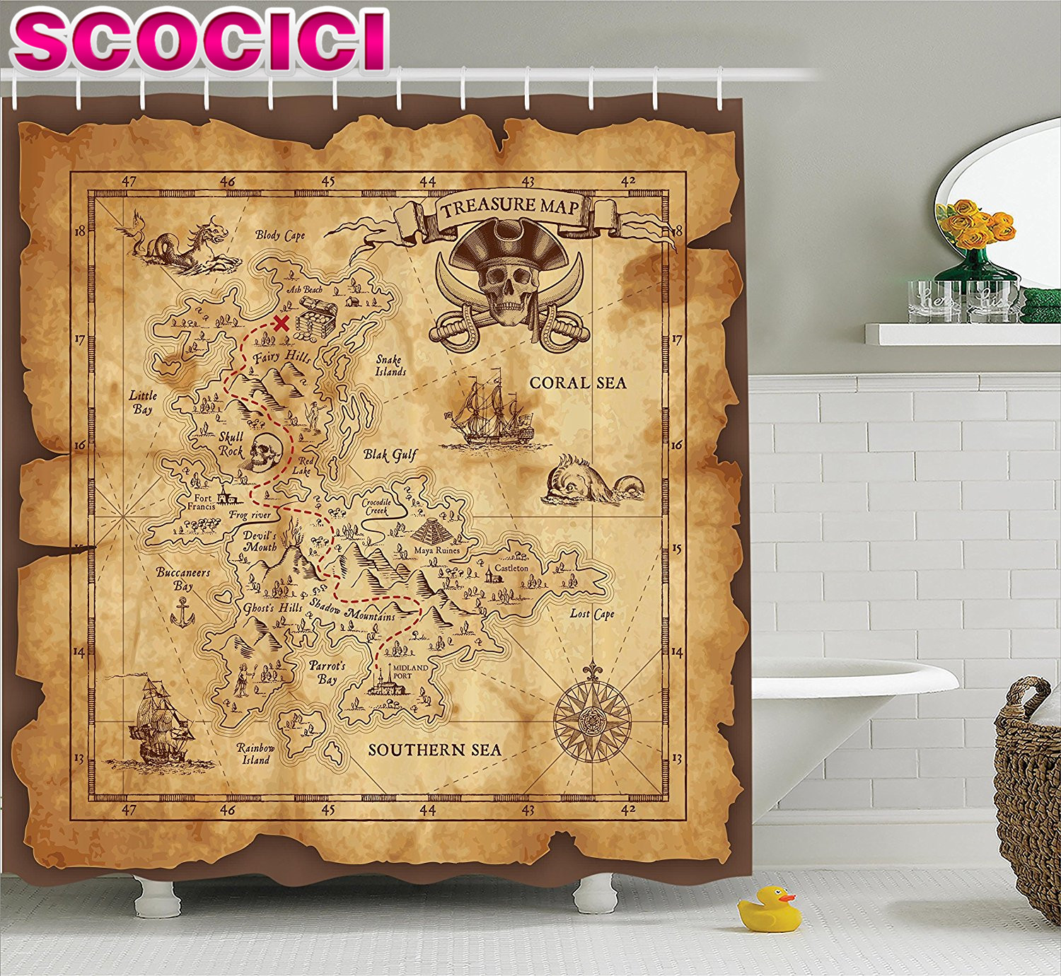 Pirate bathroom decor - Island Map Decor Shower Curtain Set Super Detailed Treasure Map Grungy Rustic Pirates Gold Secret Sea History Theme Bathroom Acc