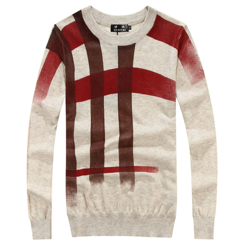 Top Quality Men Splice Print Pullover Christmas Sweater British Retro Mens Brand Casual Slim Fit Jumper O Neck Sweater