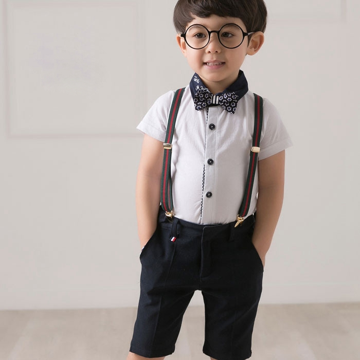 Aliexpress.com  Buy Boys Bow Tie Shirts Suspenders Shorts Pants 4 Pieces Gentleman Outfit Set ...