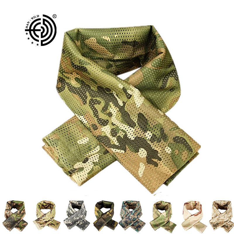 Tactical Military camouflage   Scarf   Cool Airsoft Camo Multifunctional New Army Mesh Breathable Plain   Scarf     Wrap   Mask Shemagh Veil