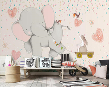 beibehang Vintage fashion three-dimensional Nordic cute wall paper elephant childrens bedroom living room background wallpaper