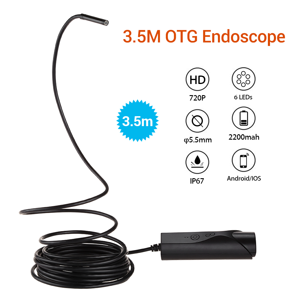 5.5mm 5M OTG Endoscope Snake Tube Borescope Inspection Camera Video IP67 Waterproof 2MP 720P 6LED Micro USB For Android IOS