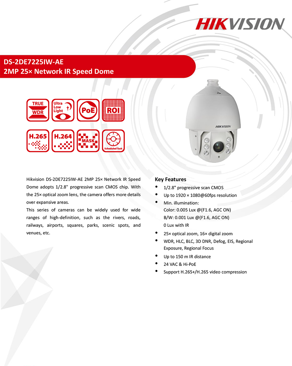 Hikvision PTZ IP Camera Outdoor DS-2DE7225IW-AE 2 Megapixel 25X Optical  Zoom IR Speed Dome Camera H