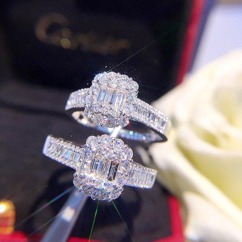 Diamante Natural 18 K oro puro anillo de oro AU 750 oro sólido anillos de oro lujo moda clásica fiesta joyería fina venta caliente Nuevo 2018-in Anillos from Joyería y accesorios    1