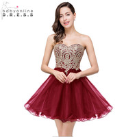 Vestido De Festa Curto Sexy Backless Burgundy Lace Short Prom Dresses 2016 Cheap 7 Colors Real