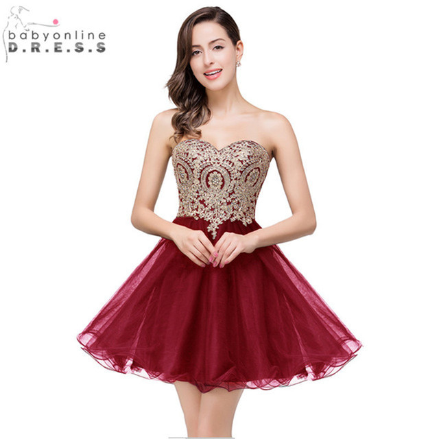 Vestido de Festa Curto Sexy Backless Burgundy Lace Short Prom Dresses 2016 Cheap 7 Colors Real Image Short Evening Party Dress