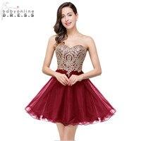 Vestido De Festa Curto Sexy Backless Burgundy Lace Short Prom Dresses 2016 Cheap 7 Colors Real