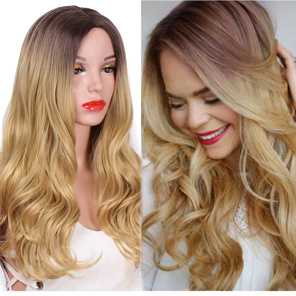 AISI HAIR 26 inch Blonde Ombre Wig Synthetic Long Wavy Natural Hair