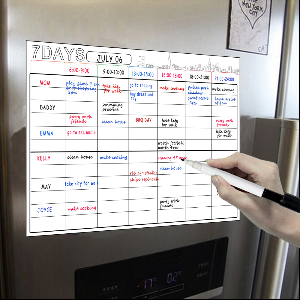 A3 Whiteboard Magnetic Dry Erase Calendar Set 16x12'' Whiteboard Planner Refrigerator Fridge Kitchen Home Magnetic