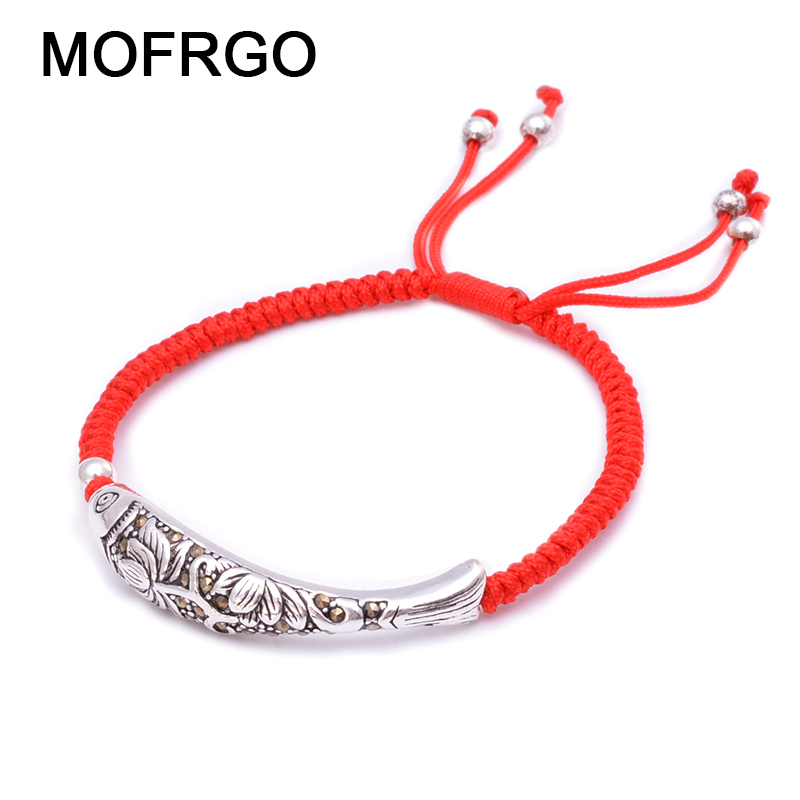 925 Sterling Silver Fish Lucky Red Rope Bracelet Handmade Bangle Wax String Amulet Charm Bracelet For Women Ethnic Yoga Jewelry925 Sterling Silver Fish Lucky Red Rope Bracelet Handmade Bangle Wax String Amulet Charm Bracelet For Women Ethnic Yoga Jewelry