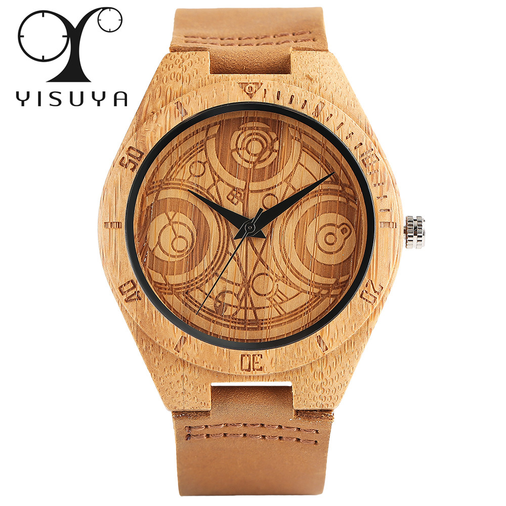 YISUYA Nature Bamboo Wooden Watch Men Dr. Who Creative Watches Genuine Leather Strap Luxury Wood Clock Bangle Simple Gift 2017