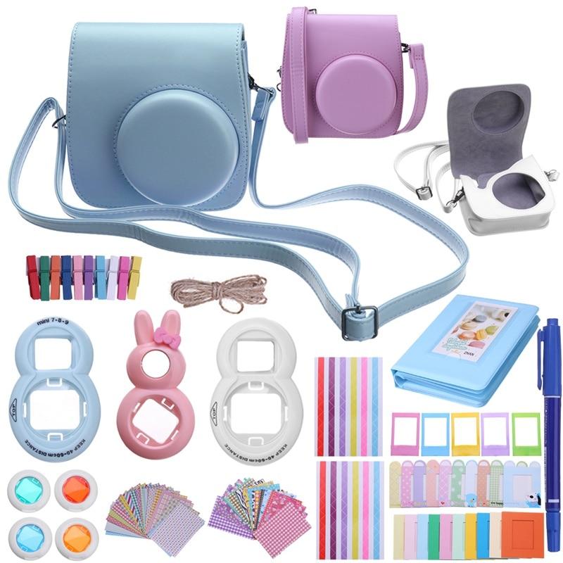 12 in 1 Shoulder Camera Case Accessory Bundles Bag Accessories Kit Tool for Fujifilm Instax Mini8 Mini 9 Protective Case Cover