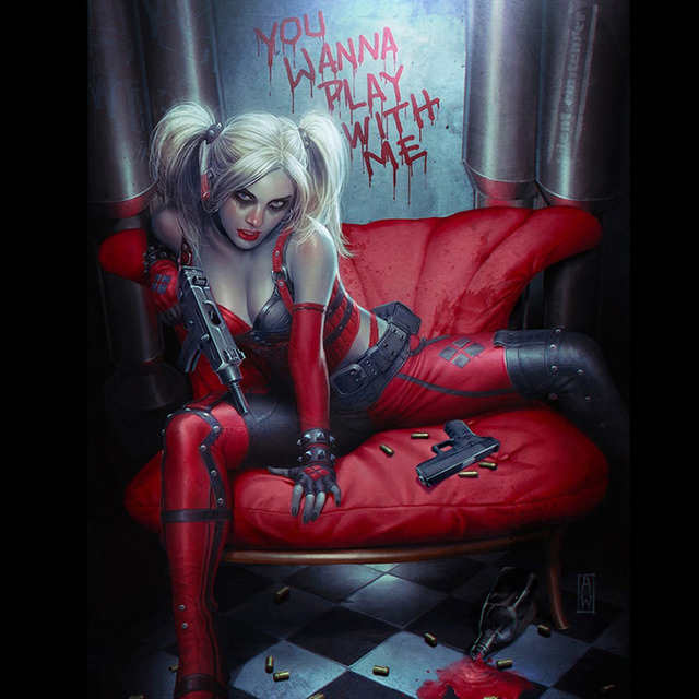 Harley Quinn Batman Arkham City Fabric poster 24″ x 24″  13″ x 13″Decor  –01