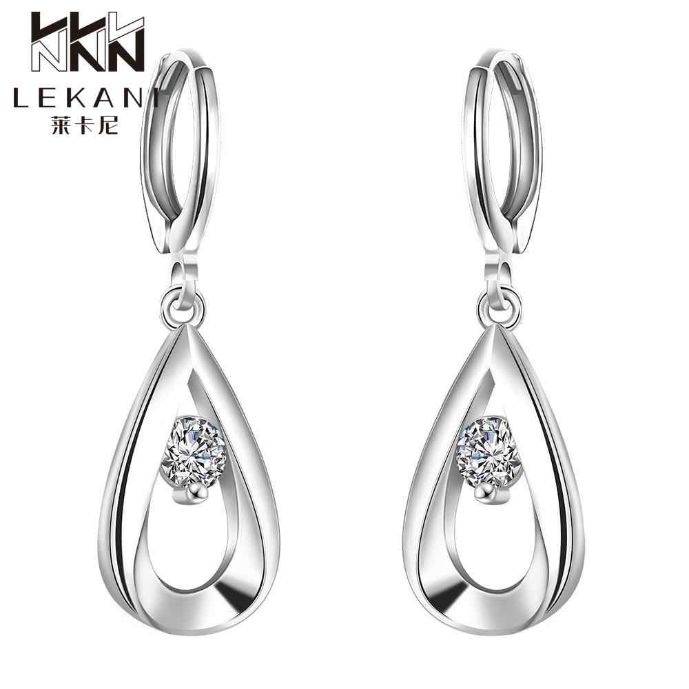 E614 silver plated drop earrings for women inlaid Cubic Zirconia earring fashion high quality Long Earrings Romantic gift