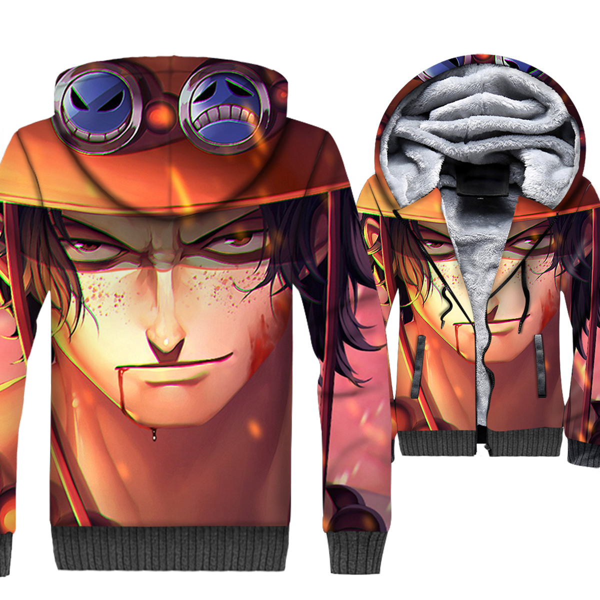 One Piece 3D Print Hoodie Men Portgas.D.Ace Anime Sweatshirt Winter Thick Fleece Warm Luffy Brother Coat The Pirate King Jacket