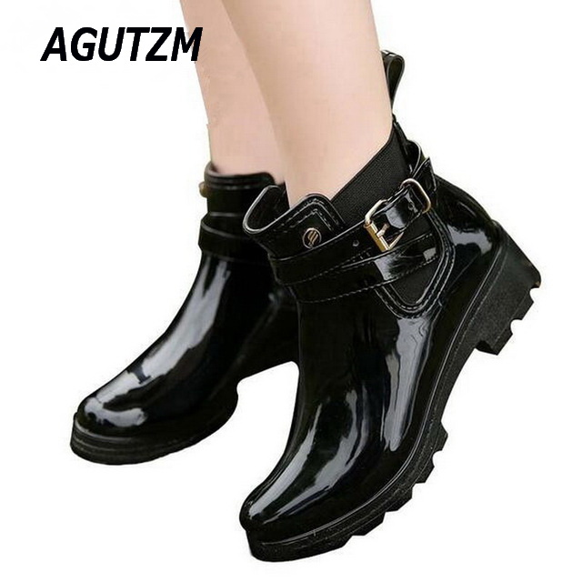 AGUTZM Rubber Shoes Women Rain Boots For Girls Ladies Walking Waterproof PVC Women Boots Winter Woman Ankle Martins Rainboots laura ashley butterfly rainboots for girls
