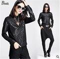 3 estilo de la mujer del otoño nuevos de manga larga camisa tops 2015 negro impresión camisa de manga larga marca de moda punk sexy camiseta de las mujeres