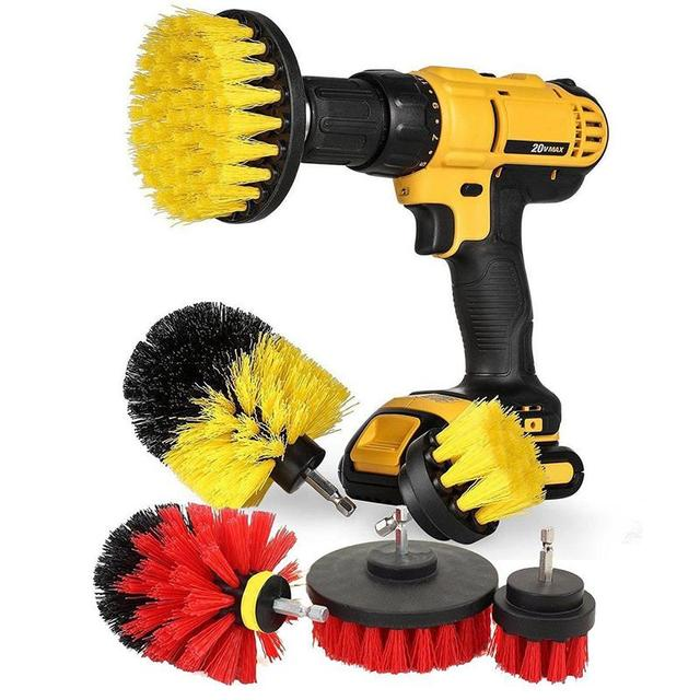 3 Pcs/Set Drill Brush Kit for Tile Grout Car Boat RV Tub Cleaner Scrubber Cleaning Tool Brushes