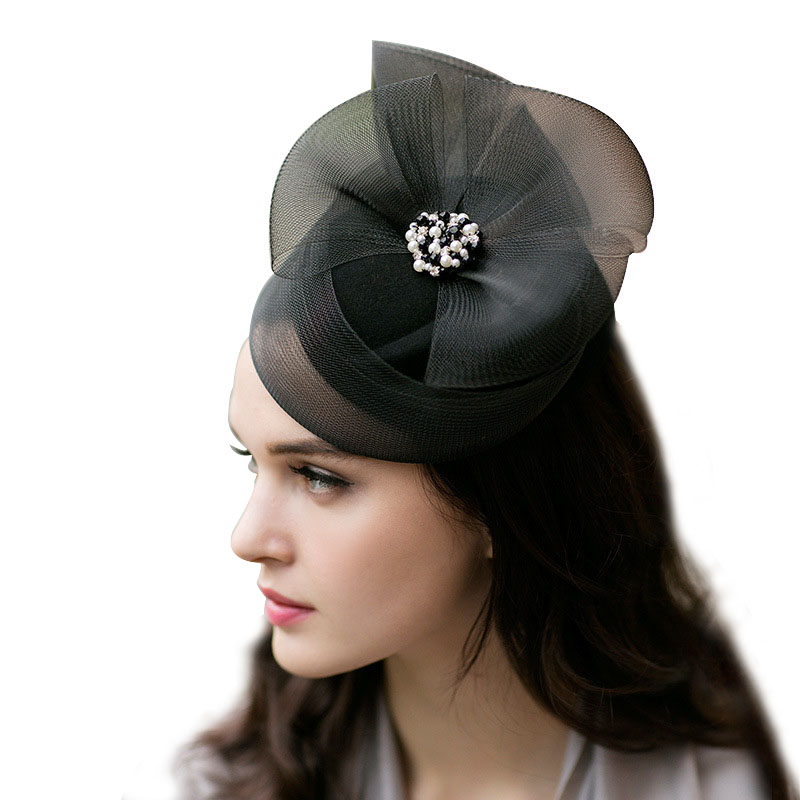 Damas real tocados boda carreras de malla de Fascinator mujeres Vintage sombrero de Iglesia fiesta sombrero tapa 2018 nuevo M24
