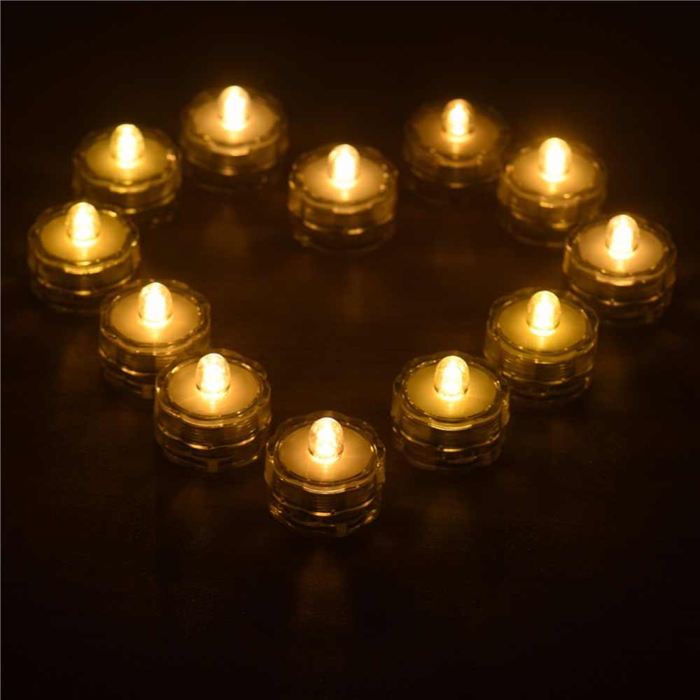 12 pcs/lot Tealights Wedding Party Home Decoration 7 Colors Plum shape Flameless LED Candle Lamp Night Lights With Swivel