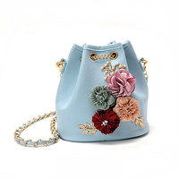 Yesello Fashion Handbags Flowers Sweet Lady Drawstring Bucket Bag Shoulder Bag Embroidery Young Girl Bags Famous Design