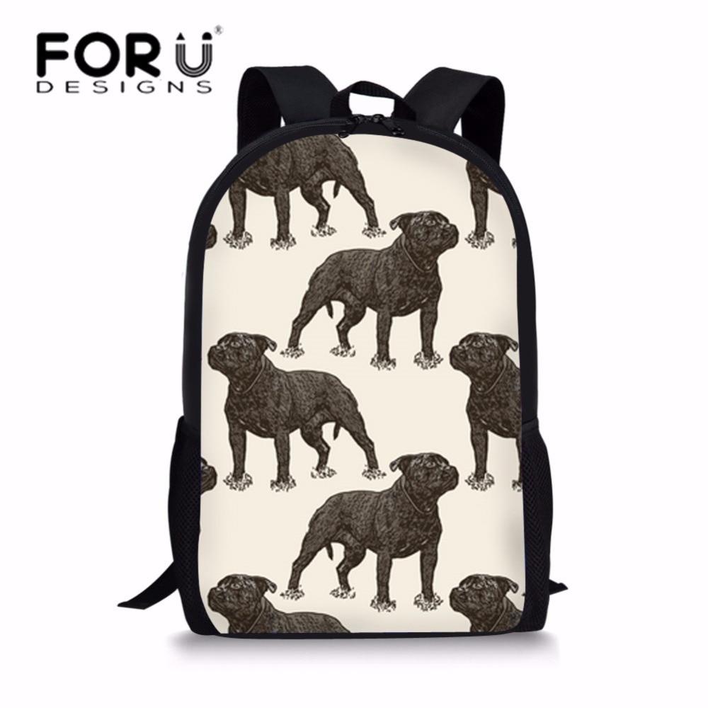 FORUDESIGNS/детские школьные сумки для детей бультерьер печати Школьный рюкзак подростков Повседневное ноутбук плеча Bagpack ранец