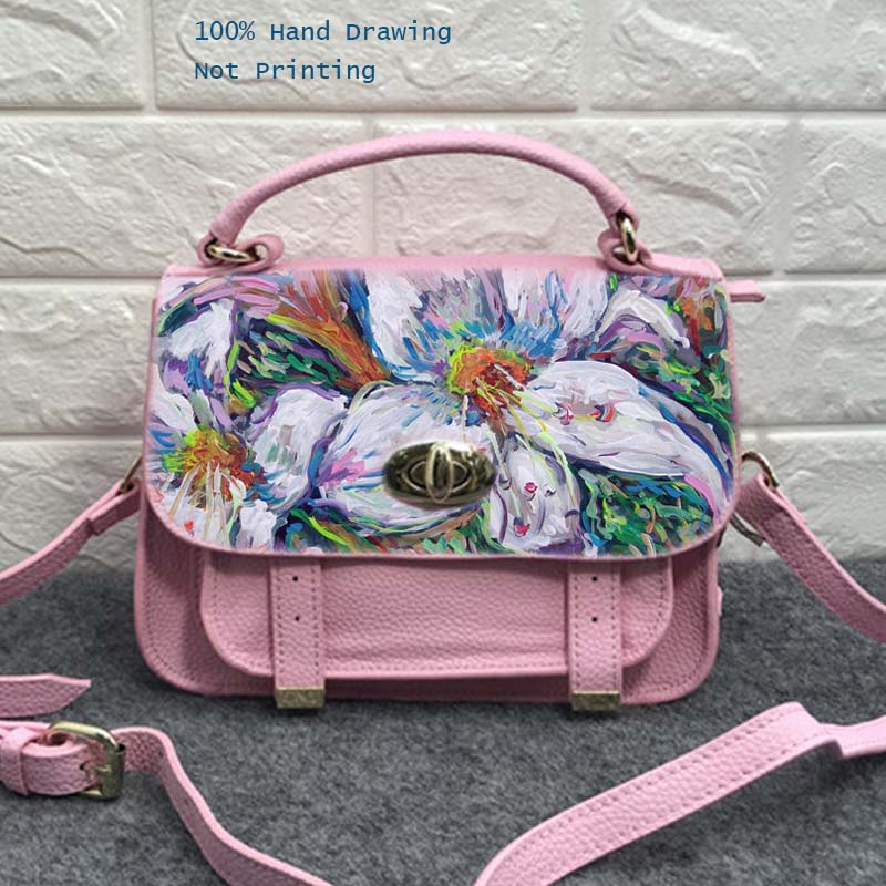 купить Women Shoulder Bag Cow Leather Crossbody Pink Zipper Hasp Women Messenger Bags Hand Painted Graffiti Flower Top-Handle Bags Tote по цене 5983.78 рублей